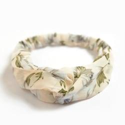 Hårband med vackra blomstermönster elastiskt silke i 3 modeller Beige one size