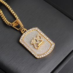 Hip hop kedja militärbricka 100 i guld och diamanter Guld one size
