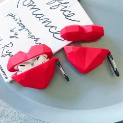 Hjärtformat Stötsäkert Skal till Airpods Pro 3D Röd one size