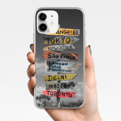 iPhone 12, 12 Pro & Max skal m. skyltar m. olika städer new york Grey one size