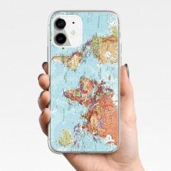 iPhone 12, 12 Pro & Max skal m. världskarta blå kontinenter Blue one size