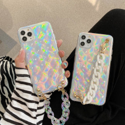 iPhone 12 & 12 Pro Skal 3D glitter vristband neon Silver one size
