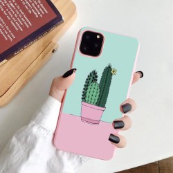 iPhone 12 & 12 Pro skal med kaktus rosa pastellfärger Rosa one size