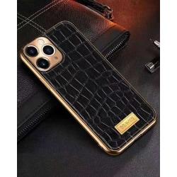 iPhone 12 Pro Skal äkta läder krokodilmönster guldram hög lyx Black one size
