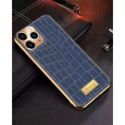 iPhone 12 Skal äkta läder krokodilmönster guldram hög lyx Blue one size