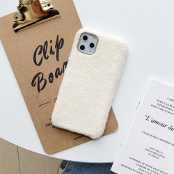 iPhone11 skal teddy material fluffigt mjukt stickat White one size