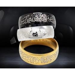 Islamisk ring i stål med kalima muslim svart, silver, guld Guld one size