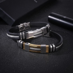 Lyxigt Handgjort Stål armband för män  Silver one size