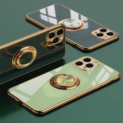 Lyxigt Stilrent Mobilskal Phone11 med ring ställ-funktion Guld Mörkgrön one size