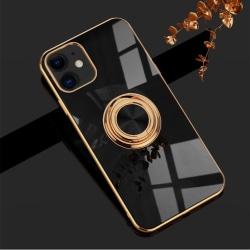 Lyxigt Stilrent skal iPhone 12 och iPhone 12 Pro med ring ställ- Black one size