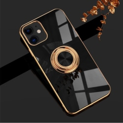 iPhone 12 och iPhone 12 Pro Skal Lyxigt Stilrent med ring ställ- Black one size