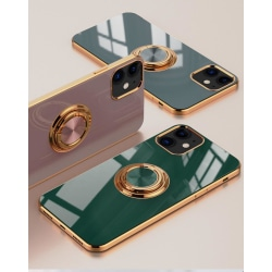 Lyxigt Stilrent skal iPhone 12 och iPhone 12 Pro med ring ställ- Green one size