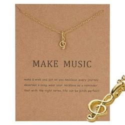 Make music - G klav not halsband med 18K guldpläterat gåva Guld one size