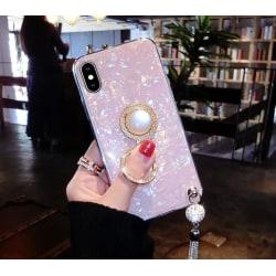 Mobilskal i artificiell pärlemor med tassle och ringhållare Rosa one size