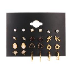 Örhängen set á 12 guldpläterade pärlor strass hoops Guld one size