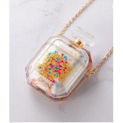 Parfymflaska för airpod-fodral med flytande glitter! Guld one size