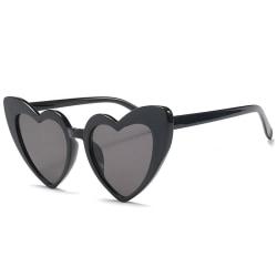 Retro hjärtformade solglasögon kvinnor överdimensionerade UV400 Svart one size