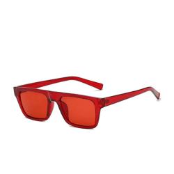 Röda klassiska fyrkantiga solglasögon i retrostil Red one size