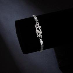 Silverpläterat armband med zircon katt kattälskare Silver one size