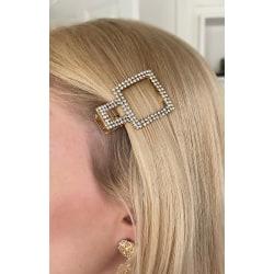 Trendig hårklämma i form av kvadrat klädd med strass som glimmar Guld one size
