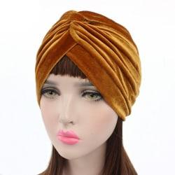 Turban i lyxig sammet i flera färger mössa Gold one size