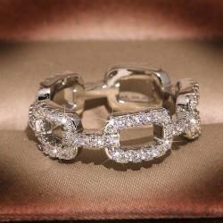 Unik handgjord 925 silverpläterad vintage ring i band Silver one size