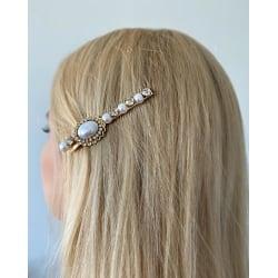 Unik hårnål med pärlor och strass 1 berlock  Vit one size