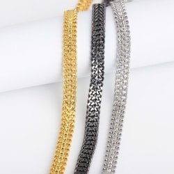 Unikt lyxigt armband i silver, guld & svart punk Guld one size