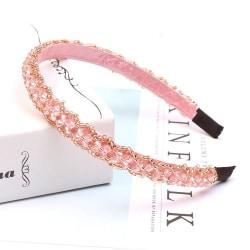Vackert diadem med broderade pärlor och strass flera färger Pink one size