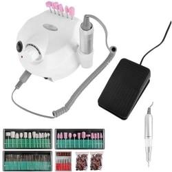 Saloon-Pro Elektrisk Nagelfil Manikyr Kit med tillbehör vit