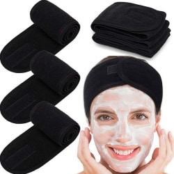 Face Headbands Makeup Velcro 8 Kinds Pure Color Shower Black