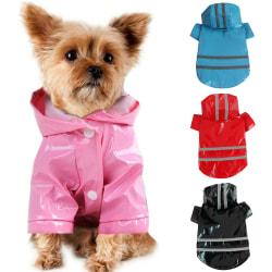 Pet Dog Rain Coat Kläder Puppy Costume Hoodie Hooded Waterproof black M
