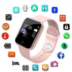 Smart Watch Electronic Fitness Tracker Silicone Strap Black