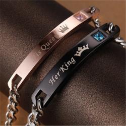 Armband med kristallkronor i rostfritt stål