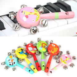 1 Pcs Whistle Hand Rattles Cartoon Animal Wooden Hand Bells Baby