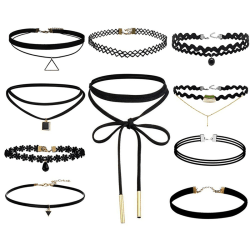 10 Pieces Choker Necklace Black Classic Velvet Stretch Gothic Ta Black Set