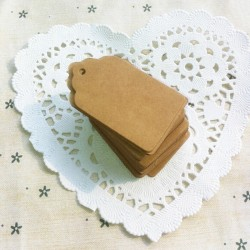 100x Kraft Paper Hang Tags Birthday Party Favor Gift Label Brown