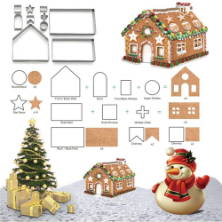 10pcs 3D Gingerbread house Stainless Steel Christmas Scenario C