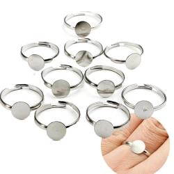 10st 8mm silverpläterad justerbar platt ring bas tomma smycken