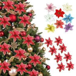 10PCS Artificial Christmas Flower Glitter Fake Flower Christmas Silver
