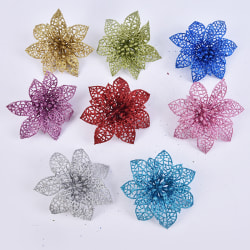 10PCS/Set 10CM New Year Christmas Decorations Artificial Flowers Silver