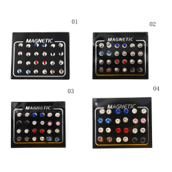 12 pairs Fashion Mixed Color Magnets Earrings No Piercing Ear St 0 6mm