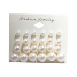 12 Pairs New Women Fashion Faux Pearl Round Ear Stud Earring Set White Set
