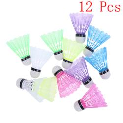 12 Pcs Colorful Plastic Badminton Ball Shuttlecocks Sport Traini onesize