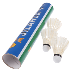 12 Pcs White Goose Feather Badminton Sport Shuttlecocks Durable  One Size