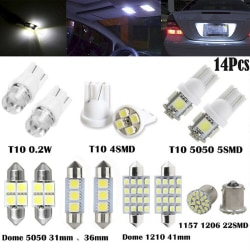 14Pcs LED Interior Package Kit For T10 36mm Map Dome License Pla White