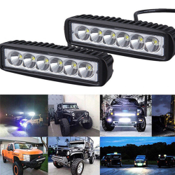 18W 6000K LED Work Light Bar Driving Lamp Fog Off Road SUV Car B Black