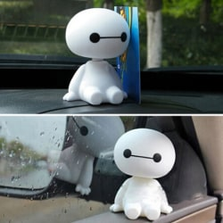 1Pc Cute cartoon baymax robot shaking head figure car ornaments  One Size