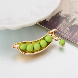1Pc Gold Plated Metal Green Pea Unique Collar Pins Badge Corsage Green One Size