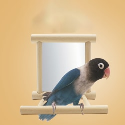 1pc new funny wooden bird toy mirror stand platform toys for par 3.94*3.94*3.94 inch